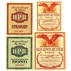 American Banknote Co., 1910-30 Specimen Intaglio Printed Whiskey Label Quartet