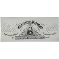 """ABN Proof Vignette """"American Telegraph Cable Co."""" 1880s With portrait of Jay Gould in Middle."""