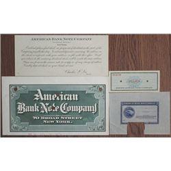 American Bank Note Co. 1890's to 1940's Proof and Specimen Ephemera Quartet