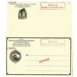 American Banknote Co., ca.1900-1930's Specimen Package Label Pair
