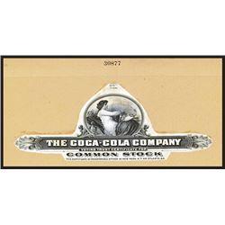 Coca Cola Co., 1930-40 Stock Certificate Proof Vignette.