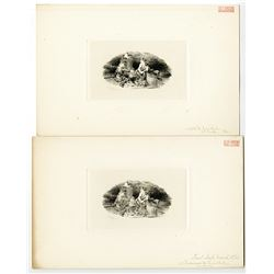 """James D. Smillie Intaglio Progress Proof Pair of ABNC """"Native Americans around Fire"""", Dated 1861."""
