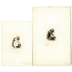 """James D. Smillie Intaglio Progress Proof Pair of ABNC """"Woman with Wheat and Sickle"""" Dated 1857."""