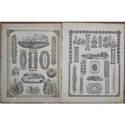Vignette Sheet Pair, ca.1850-70's with Multiple Litho Vignettes by Ferd.Mayer & Co., NY.
