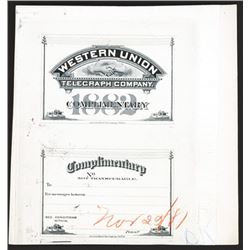 Western Union Telegraph Co., 1881 Unique Approval Proof Complimentary Pass.