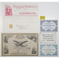 Group of 6 Printing Company Advertisements & Ephemera, ca.1850's to 1870's.