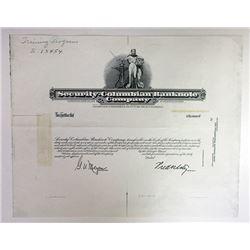 Security-Columbian Banknote Co., ca.1940-50's Progress Proof Stock Certificate.
