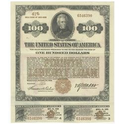 Fourth Liberty Loan 4 1/4 % Gold Bond of 1933-1938, $100 Issue October 24, 1918.