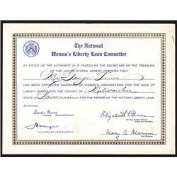 National Woman's Liberty Loan Committee Certificate, ca. 1917-20.