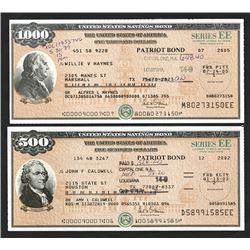 """U.S. Savings Bond, Series EE """"Patriot Bonds"""", ca. 2002-2005 Bond Pair."""