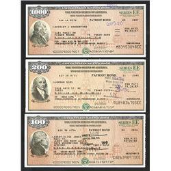 """U.S. Savings Bond, Series EE """"Patriot Bonds"""", ca. 2005-2007 Bond Trio."""