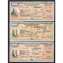 """U.S. Savings Bond, Series EE """"Patriot Bonds"""", ca. 2007-2011 Bond Trio."""