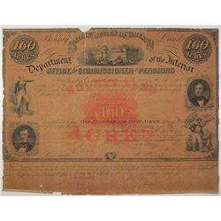 U.S.A. Department of the Interior 1856 Issued 160 Acre Bounty Land Document