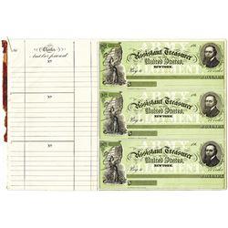 Assistant Treasurer of the United States 1860s U/U Uncut sheet of 3 Checks.