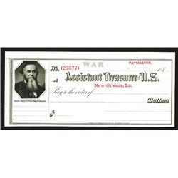 Assistant Treasurer of the U.S., New Orleans, LA. 1870's, War Department Paymaster Check by BEP.