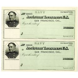 Assistant Treasurer of the U.S. - Paymaster, Navy Military Check, ca.1880's U/U Uncut Check Pair