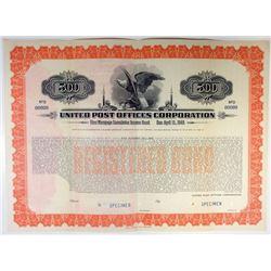 United Post Offices Corp. 1936 Specimen Bond