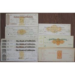 California, 1870's Imprinted Revenue Bank Check Assortment.