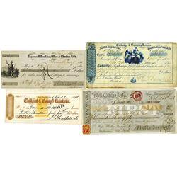 California, Gold Rush Era Check Quartet, ca.1855 to 1870.