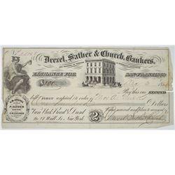 Drexel, Sather & Church, Bankers, 1855 Gold Rush Era Bill of Exchange