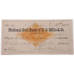 National Gold Bank of D.O.Mills & Co., 1880 I/C Check IR RN-G1