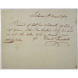 Colonial Connecticut Handwritten 1780 Payment Document Signed by David Trumbull