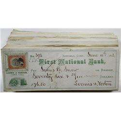 Loomis & Norton, First National Bank, Suffield, Connecticut, 1871 to 1874 Large group of Issued Chec
