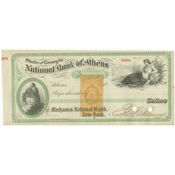 National Bank of Athens, 18xx ca.1870's Partially Issued & Cancelled Draft.