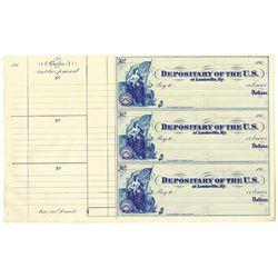 Depositary of the United States, 1860's Uncut Sheet of 3 Checks.