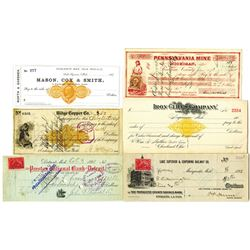 Michigan Bank Checks & Drafts, ca.1864 to 1900 with Imprinted and Adhesive Revenues.