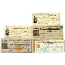 Minnesota Bank Check and Draft Assortment, ca.1871 to 1899.