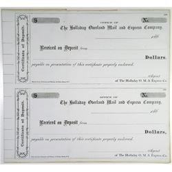 Holladay Overland Mail and Express Co., 1860's Uncut Check Pair