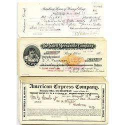 Pony, Montana. Isdell Mercantile Co., 1900 I/C group of 7 IR. RN-X7 checks; Henry Elling Sight Draft