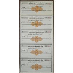 Office of A.F. Graeter, Bannack City, Montana Territory Uncut 1870s Sheet of 5 U/U Checks with RN-D1