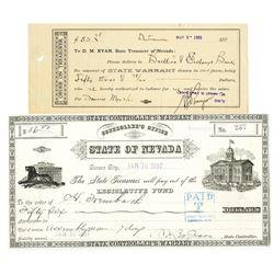 Nevada State Treasury, 1897 & 1901 Issued Warrant Pair