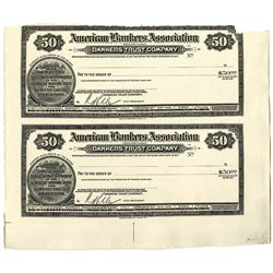 American Bankers Association, 1900-1920 Proof Uncut Travelers' Cheque Pair