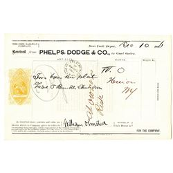 Erie Railway Co. 1866 Shipping Receipt from Phelps, Dodge & Co. with U.S.I.R. RN-B Imprinted Revenue