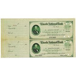 Lincoln National Bank, 1920's Specimen Uncut Check Pair