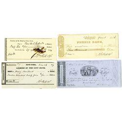 New York Bank Check Quartet, ca.1834 to 1850.