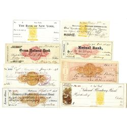 New York, Maryland and Virginia Checks with Imprinted RN-C and RN-B Revenues in Various colors, ca.1