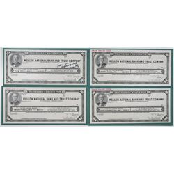 Mellon National Bank and Trust Co., 1947 Unique Approval Proof Travelers Cheque Quartet