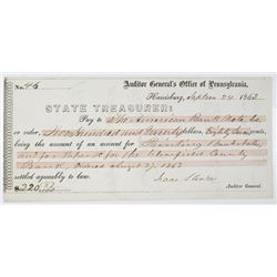 Pennsylvania State Treasurer 1863 Issued Check to American Bank Note Co. & Endorsed by Robert Draper