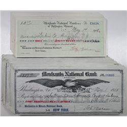 Merchants National Bank of Burlington, Vermont, 1918 I/C Drafts, a Majority Attractive ABN Printed D