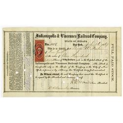 Indianapolis & Vincennes Railroad Co. 1869 I/C Stock Certificate Signed by General Ambrose E Burnsid