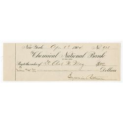 Benjamin Altman Signed 1904 Check from Chemical Bank.