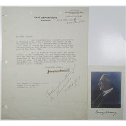 Navy Department, 1919 Letter to Warren G. Harding with His Signature & Photograph