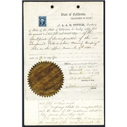 """Certificate of Incorporation, 1863 Official copy of """"Imperial Gold & Silver Mining Company""""."""