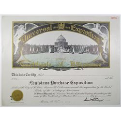 Louisiana Purchase Exposition 1904 Certificate of Attendance