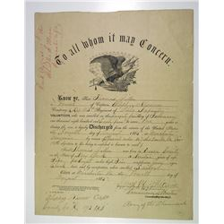 Civil War 1865 Union Army Discharge Paper for Young Sailor