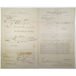 Indian Territory General Form of Indictment and Court Recognizance, 1903 and 1905 Document Pair